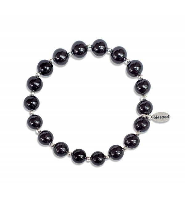Count Your Blessings Bracelet by Made As Intended - 8MM Onyx Gemstone Beads - CV1879ZZL3I