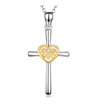 "YFN Simple Jewelry 925 Sterling Silver Platinum Polished Celtic Knot Cross Heart Pendant Necklace 18"" - C5184G76L0W"