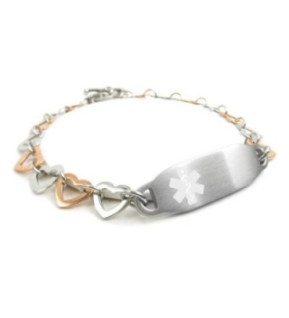 MyIDDr - Pre-Engraved & Customizable Hypoglycemia Toggle Medical ID Bracelet- Steel Hearts - CW11HUG2309