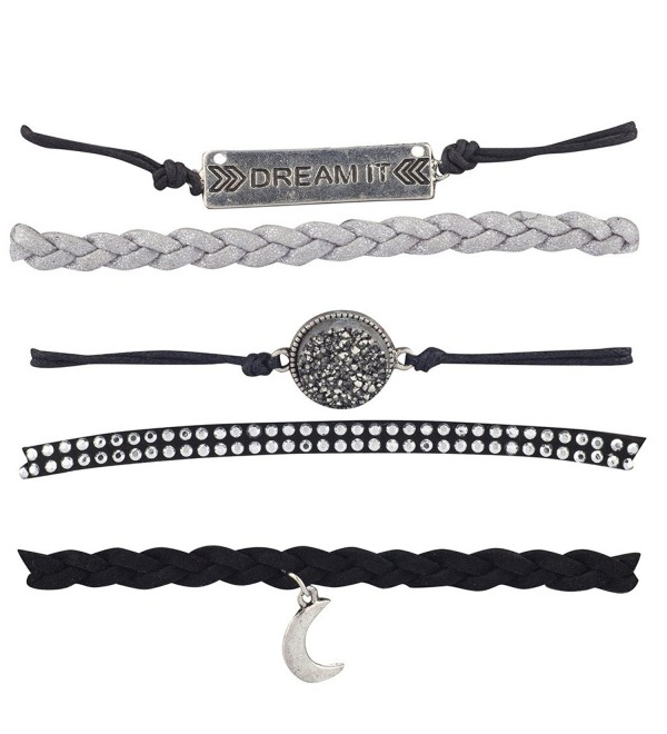 Lux Accessories Black Grey Dream It Celestial Crescent Moon Arm Candy Set 5PC - CS12LO54WWN