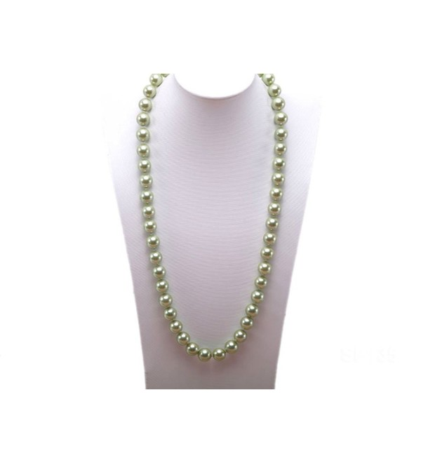 "JYX 12mm Round Seashell Pearl Necklace 28"" - Green - CQ184TR7TDE"