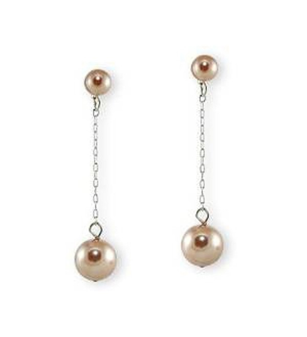 Long Taupe Faux Pearl Earring (brown) - CF11FTQZBDN