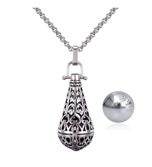 "Antique Silver Teardrop Pendant 16MM Harmony Music Ball Mexican Bola Locket Pregnancy Necklace 30"" - CW188L4ENCT"