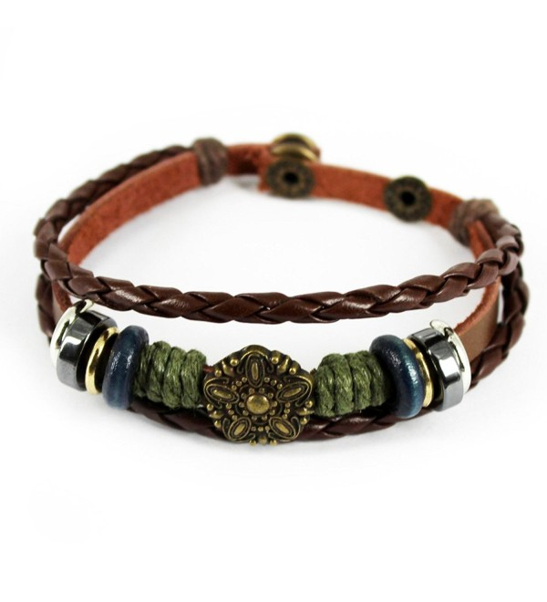 Wild Wind Unique Art Metal Button Ring Braided Leather Adjustable Wrap Bracelet - CH127CFN9WX
