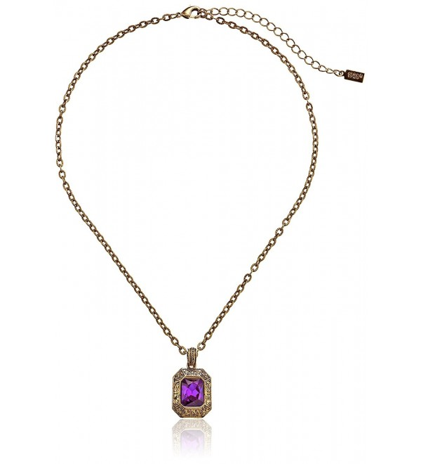 "1928 Jewelry ""Deep Siberian"" Faceted Square Adjustable Pendant Necklace - Amethyst / Gold-Tone - CI110GT78EN"