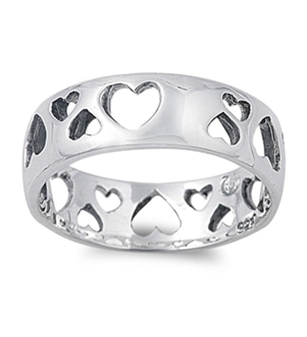 Eternity Cutout Heart Purity Girlfriend Ring 925 Sterling Silver Band Sizes 5-10 - CX187YUL6L8