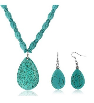 "22""Blue Simulated Turquoise Howlite Necklace w/ Drop Shape Pendant & Earring Set - C011F4AUAL5"