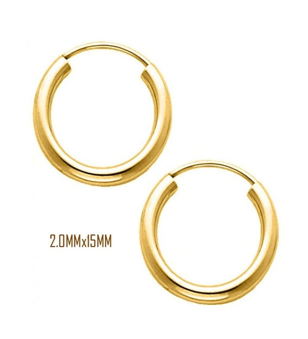 14K Yellow Gold 15 mm in Diameter Endless Hoop Earrings with 2.0 mm in Thickness - CM11OK94FSH