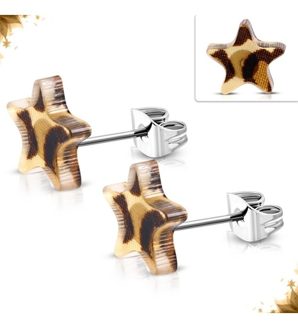 Stainless Steel 2-tone w/ Brown Leopard Print Acrylic Star Stud Earrings (pair) - TTE259 - CT17YIXUMGU