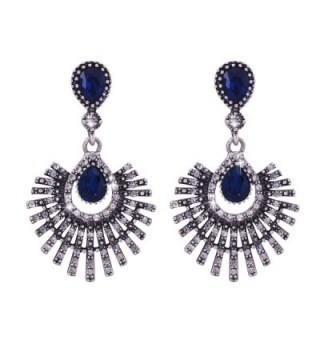 Omnichic Wine Red Crystal Chandelier Dangle Earrings Wedding Jewelry for Women - Antique Silver2 - CT182SCD7YE