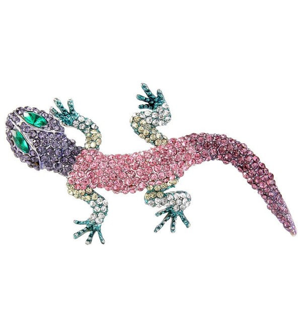 EVER FAITH Women's Austrian Crystal Cute Insect Lizard Brooch Silver-Tone - Muticolor - CX11BGDMUQJ