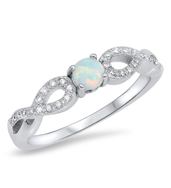 CHOOSE YOUR COLOR Sterling Silver Infinity Knot Ring - White Simulated Opal - C412MX97TX9