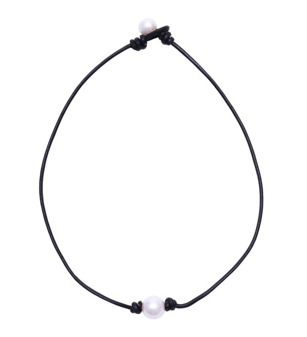 Aobei Pearl Single Cultured Freshwater Pearl Necklace Choker for Women Genuine Leather Jewelry Handmade - C512BSL62ML