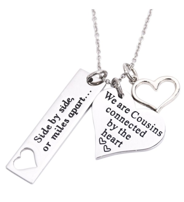 Cousin Necklace Side By Side Or Miles Apart We Are Cousins Connected By The Heart - Necklace - CO1860E79SU