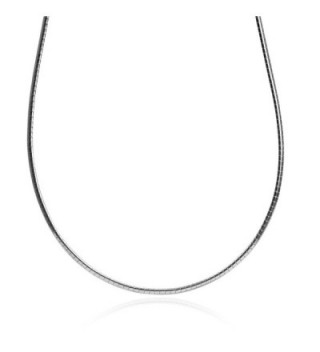 Sterling Silver Italian Omega Flat Chain 2mm 18 Inches + 2 Inches Long - C711KG8TPEF