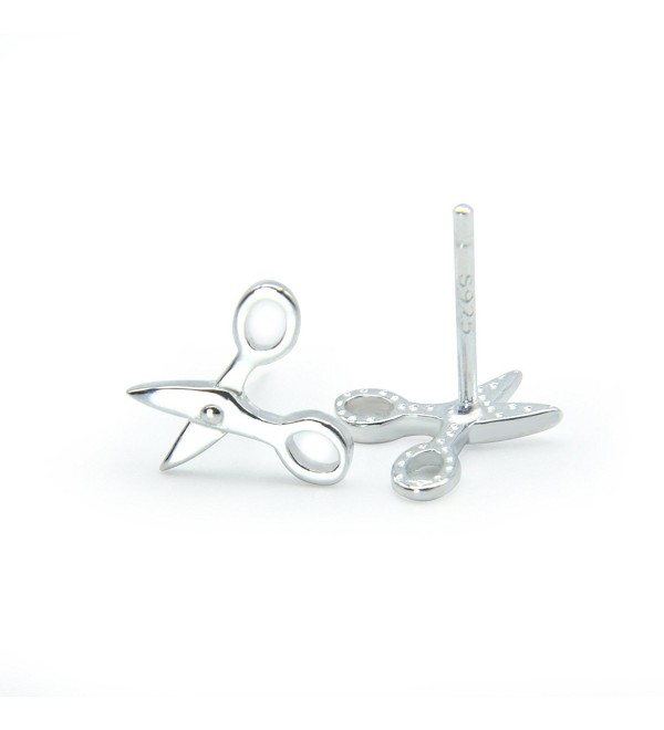BC 925 Sterling Silver Scissors Unique Special Stud Earrings Chic Hip-hop - CH187AM2YSX
