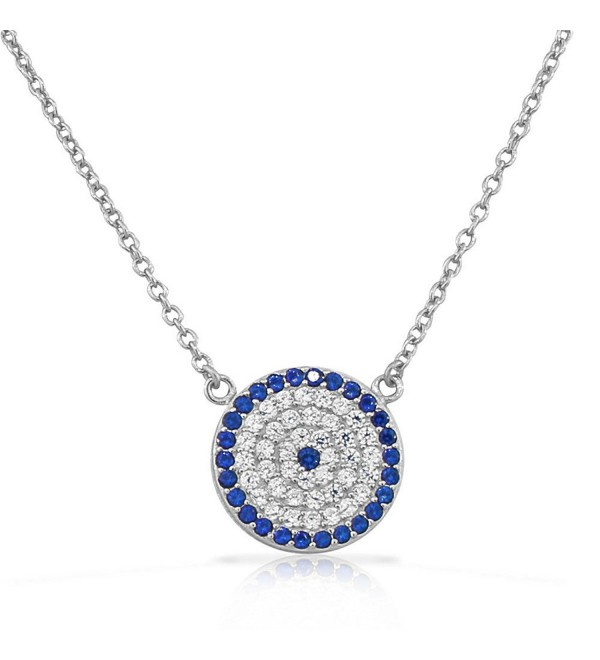 925 Sterling Silver Evil Eye Hamsa White Blue CZ Pendant Necklace - White - CD11OBCMYAX