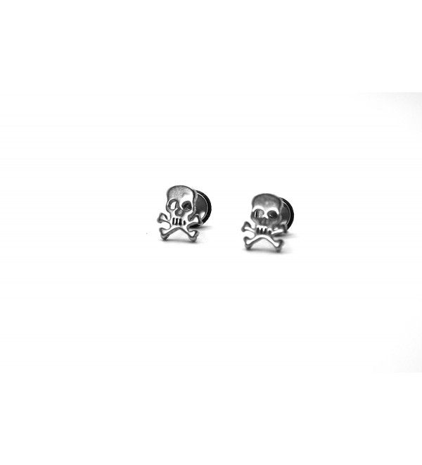Millardo Jewelry Basic Collections Skull & Cross Bones shaped Stud screw-back Earrings (Stainless Steel) - CX12EERQ9BP