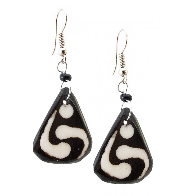 Maisha Beautiful African Fair Trade Black & Off White Triangle Up cycled Camel Batiked Bone Earrings - CG11DE1F1T9