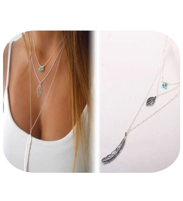 KissYan Boho Necklace Turquoise Beads Feather Necklace Crystal Beads Coin Chain For Women - CW188L2DETY