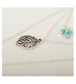 KissYan Layered Necklace Turquoise Feather in Women's Pendants