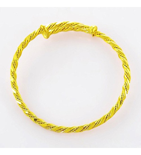 CS-DB 24K Gold Real 24k Yellow Gold Filled Bracelet Rand New Bangle Rope Shape Women Wedding Jewelry - CC1202C0WDH