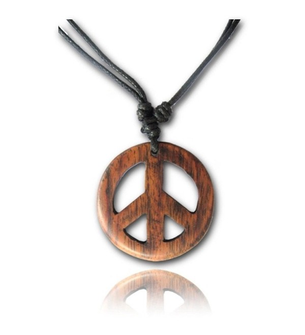Earth Accessories Adjustable Length Organic Wood Peace Sign Pendant Necklace - Brown Peace Sign - CB12NSNFE0M