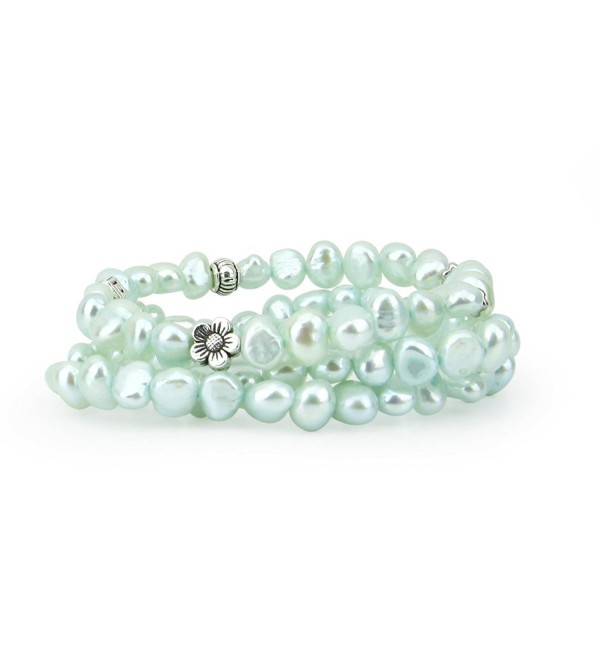 "Genuine Freshwater Cultured Pearl 7-8 mm Light Blue Stretch Bracelets base-metal-beads (Set of 3) 7.5"" - CY11C6GH4H5"