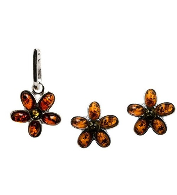 Sterling Silver Multicolor Amber Flower Jewelry Set Earrings and Pendant - CW110I5TH7L