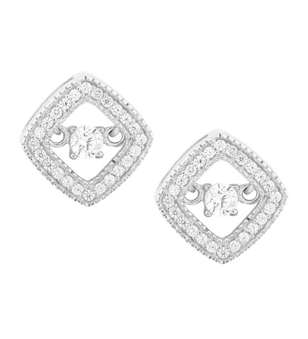 "Sterling Silver ""Dancing CZ"" Square Stud Earrings - C311MXCC98B"