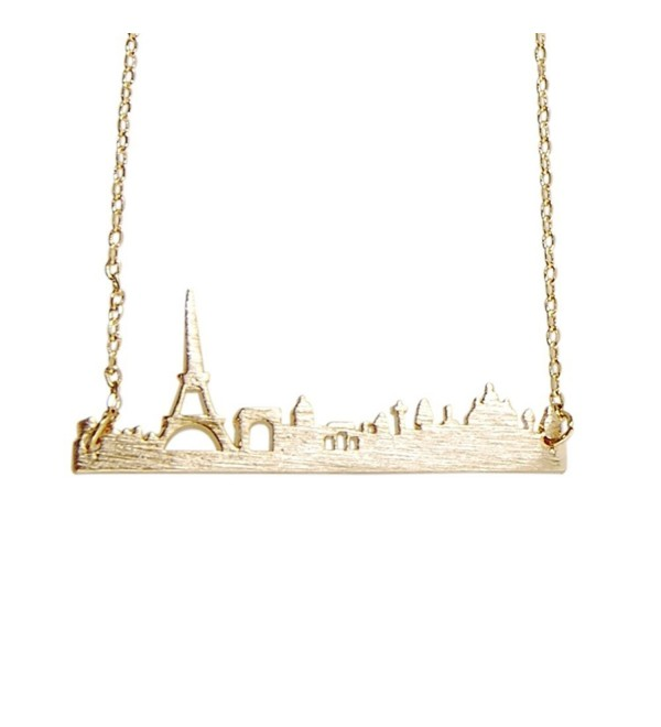 Art Attack Goldtone Paris France City French Skyline Cityscape Eiffel Tower Outline Pendant Necklace - CF12GU4XXTV