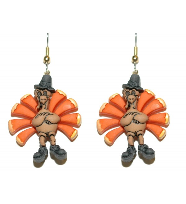 Colorful Thanksgiving Turkey Pierced Dangle Earrings (H141) - CA182GY8YX9