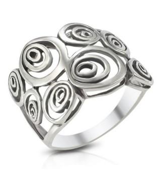 MIMI Sterling Silver Wide Geometric Spiral Swirl Ring - C6119XWBBFV