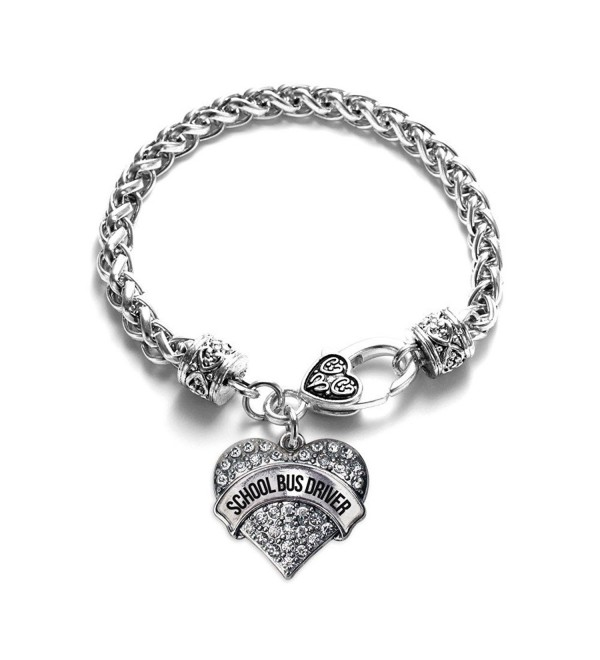 Inspired Silver School Bus Driver Pave Heart Charm Bracelet - CK12F651SMJ