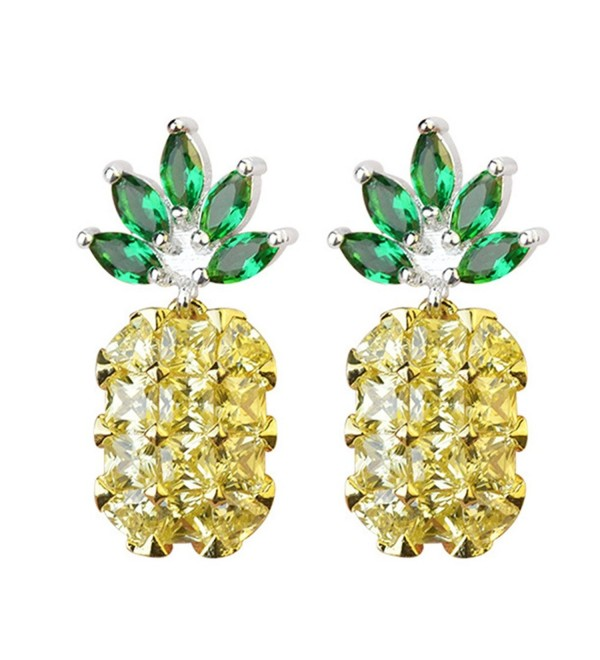 S925 Sterling Silver 18K Gold Plated CZ Two-tone Green Leaf Crystal and Pineapple Women Dangle Drop Earrings - C01820S3GGO