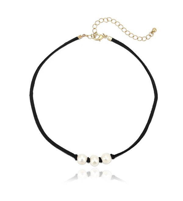 Pomina Suede Choker Necklaces- 16 inches - Black - CX187C4TSTI