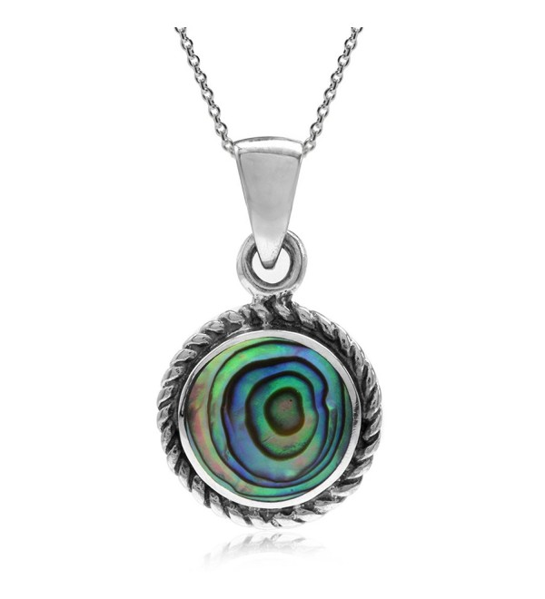 Abalone/Paua Shell Inlay 925 Sterling Silver Rope Solitaire Pendant w/ 18 Inch Chain Necklace - CX128FH4XOP
