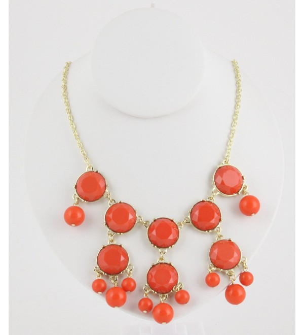 Womens Bubble Necklace & Earrings Set - Chain Fashion Statement Neckalce - Choose from Several Colors! - CB11GCG0ZHB