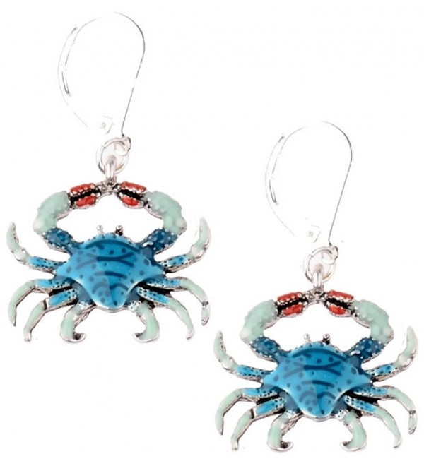 Blue Crab Dangle Silver Tone Earrings - CP12JQSGGP1