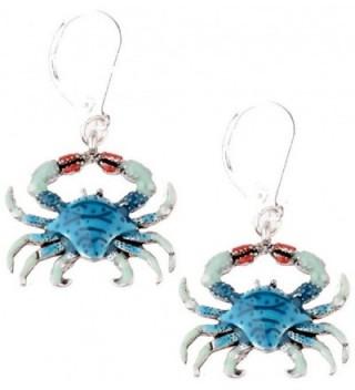 Blue Crab Dangle Silver Tone Earrings - CP12JQSGGP1