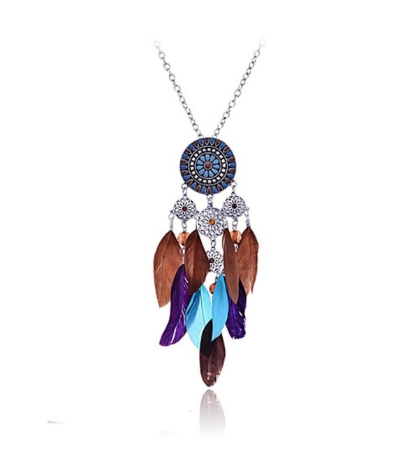 Lureme Women Silver Tone Native American Dream Catcher Colorful Feather Pendant Necklace - CF11HCW0G55