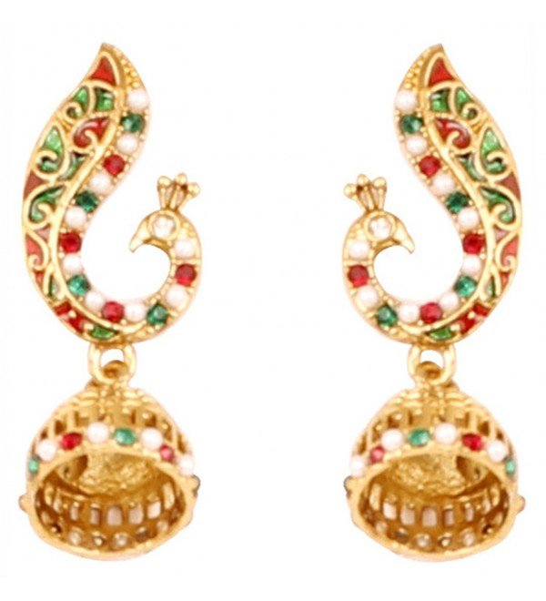 Touchstone Bollywood peacock jewelry earrings - Multicolor - C017YXYAXH8