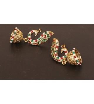 Touchstone Bollywood peacock jewelry earrings in Women's Drop & Dangle Earrings