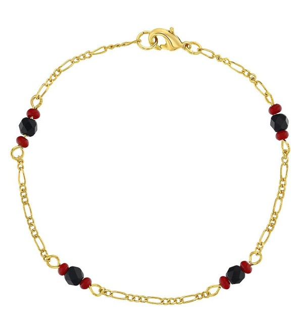 "18k Gold Plated Evil Eye Protection Simulated Azabache Womens Amulet Bracelet 7.5"" - CK127S1RXOV"