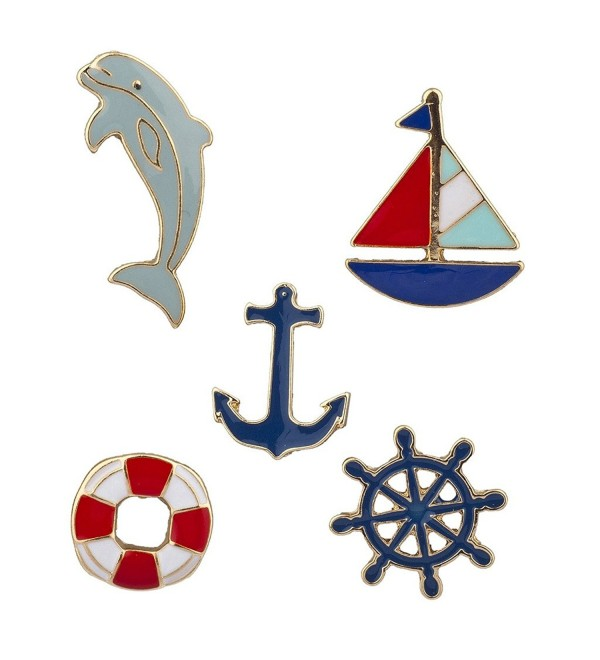 Lux Accessories Goldtone Nautical Shipwreck Sailor Anchor Brooch Pin Set 5PCS - CZ17YSN0MI6