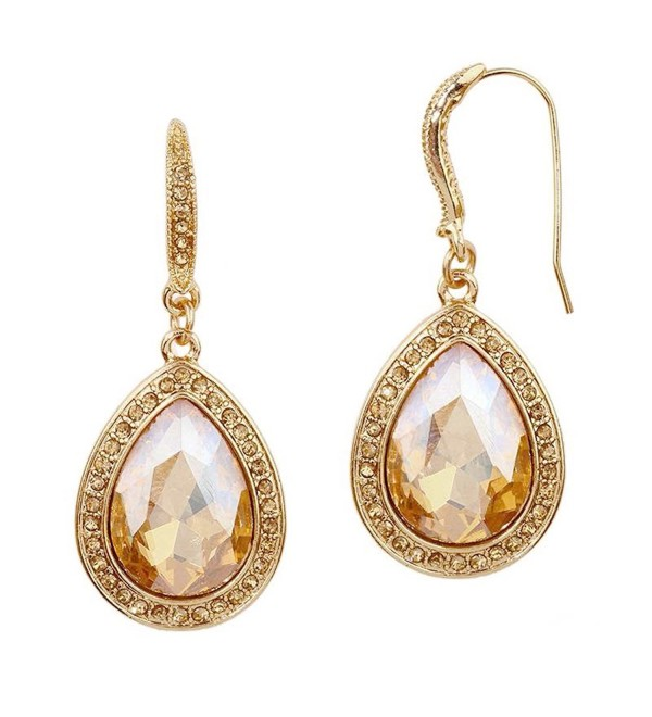 Mariell Pear-shape Champagne Gold Light Topaz Austrian Crystal Earrings for Prom- Bridesmaids- Homecoming - C812O6V6I1R