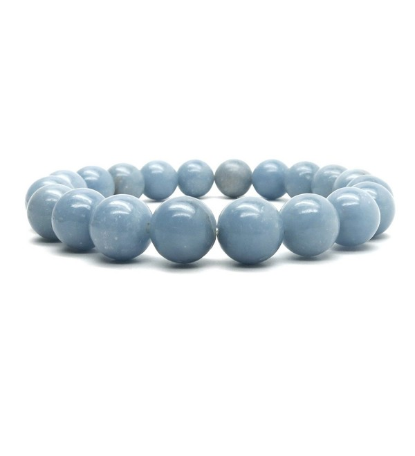 Angelite Bracelet 02 - Stretch 9-10mm Round Blue Gemstone Crystal Healing - CH12O8G3I5Z