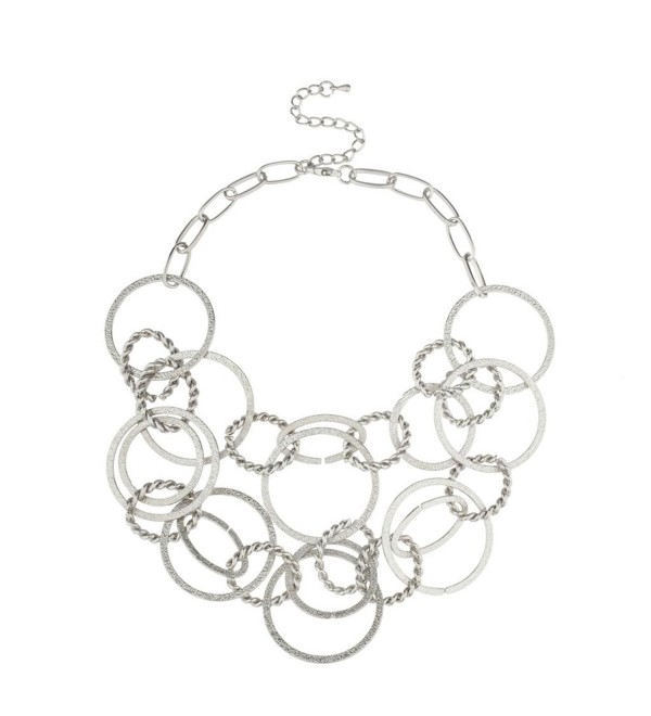 Lux Accessories All Circles Multi Chain Link Statement Necklace - CO11QS4STVL