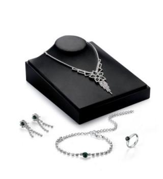 OUFO Women Fashion RhineStone Jewelry Elegant Bracelet Necklace Earring Rings Charm Sets - Silver 380 - C5183C0OREI