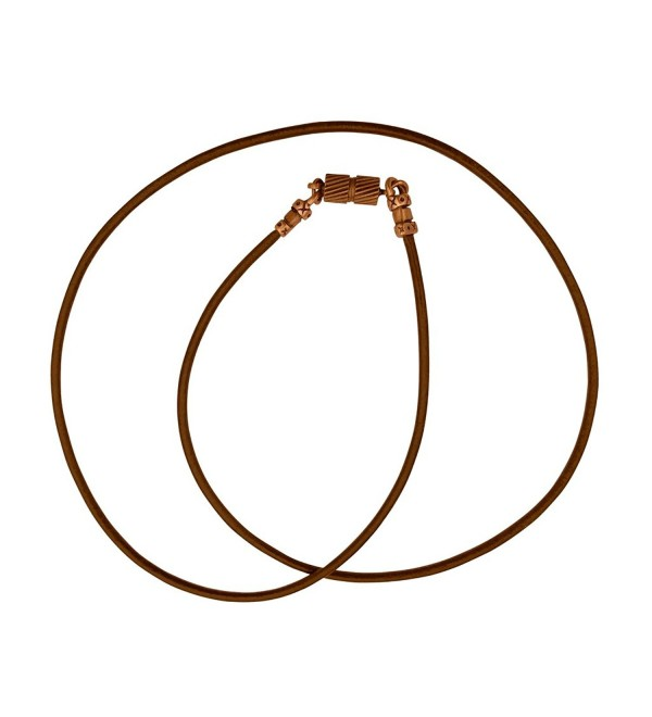 Antique Copper 1.8mm Fine Brown Leather Cord Necklace with Magnetic Clasp - CE17Z4A8TRE